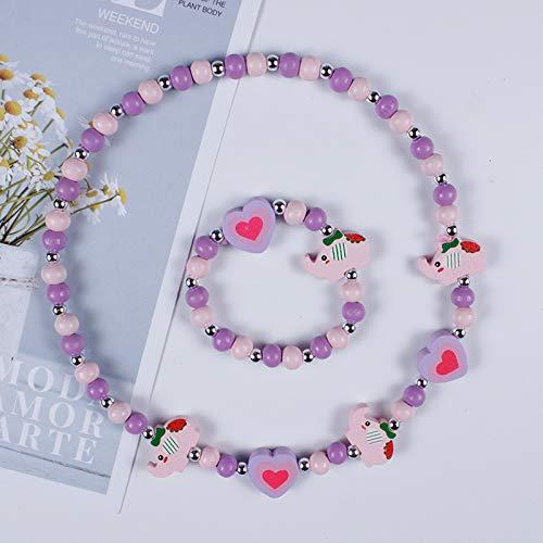 HALLTYG Collar Nuevo Collar de Animal de Flor de Dibujos Animados Lindo Pulsera niñas Regalos niños para Fiestas Regalos de cumpleaños