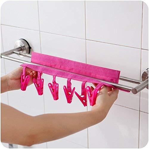 2PCS Portable lavaggio asciugatura e Air Travel essiccazione per Peg, appesa al stendibiancheria con sei clip(Stendibiancheria e clip)