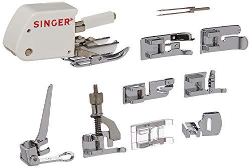SINGER Nähmaschinen-Zubehör-Set, inklusive 9 Nähfüßen, Zwillingsnadel und Etui, transparent – Nähen leicht gemacht.