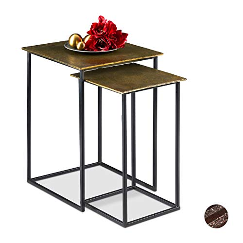 Relaxdays Satztisch 2er Set, Retro Design, eckig, Wohnzimmer, Metall, Beistelltisch, H: 50,5 und 55,5 cm, Gold/schwarz
