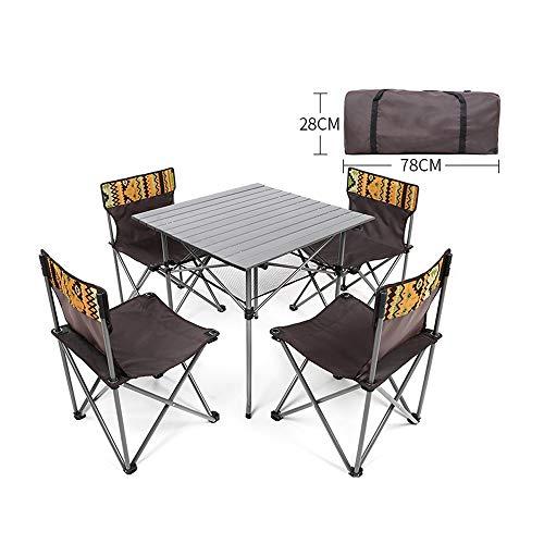 COKECO Outdoor Tragbarer Klapptisch Und Stuhl Set Oxford Tuch Klappstuhl Camping Tisch Und Stuhl Größer Set Draussen Picknick Angeln Stark Und Haltbar Campingtisch Und Stuhl