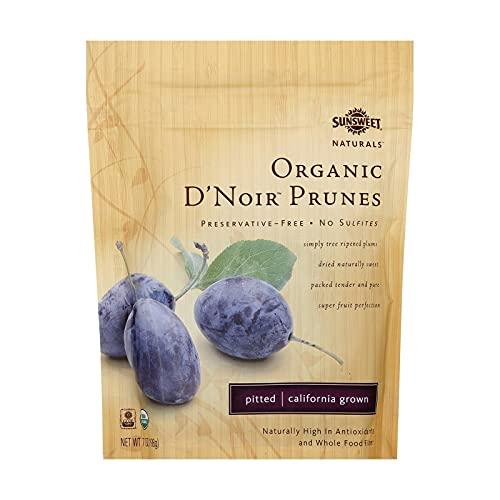 Sunsweet Naturals Organic D'Noir Dried Pitted Prunes, 7-ounce Bags (Case of 12)