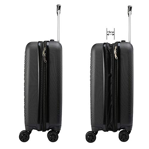 Cabin Max Velocity Cabin Suitcase Expandable Carry on Luggage (Black)