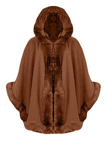 Love My Fashions Damen Poncho mit Kapuze und Fellbesatz, Italienischer Lagenlook, Gr. 36-48 Gr. 34/46 DE Einheitsgröße, Rust