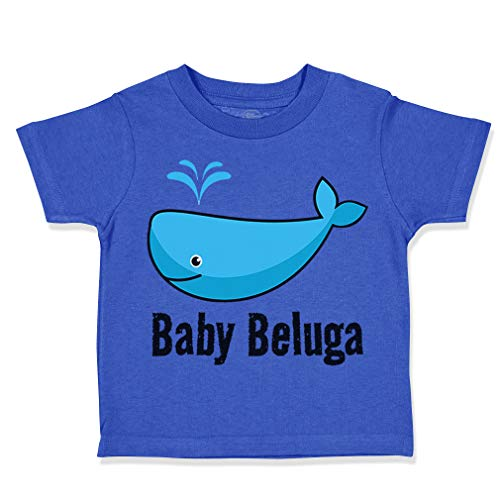 Custom Toddler T-Shirt Baby Beluga Blue Whale Ocean Sea Life Cotton Boy & Girl Clothes Funny Graphic Tee Royal Blue Design Only 24 Months