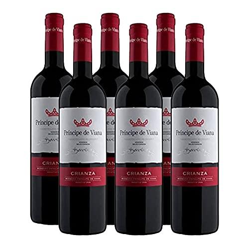 Vino tinto Principe de Viana Crianza de 75 cl - D.O. Navarra - Bodegas Principe de Viana (Pack de 6 botellas)