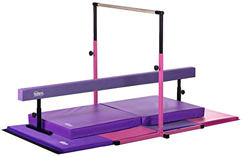Nimble Sports Little Gym Deluxe - Pink Adjustable Height Kip Bar - Purple Adjustable Height Balance Beam - Pink and Purple Tumble Mat - Purple Landing Mat