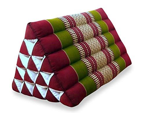 livasia Großes Dreieckskissen als Rückenstützkissen, Thaikissen BZW. Keilkissen, Nackenkissen für das Bett (rot/grün)