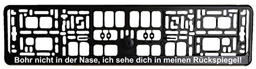 Portatarga nero – Bohr non nel naso, ti vedo nel mio specchietto. Stampa in bianco – Amplificatore per targa – Portatarga – Portatarga