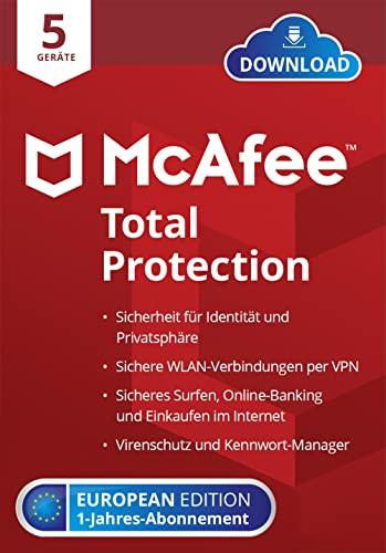 McAfee Total Protection 2022   5Geräte   1Jahr   Virenschutz, Web-Schutz, Kennwort-Manager, VPN, Identitätsschutz   PC/Mac/Android/iOS   Herunterladen