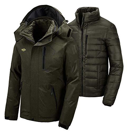 Wantdo Men's 3 in 1 Down Jacket Warm Coat Parka Windbreaker Army Green XX-Large