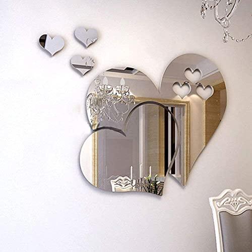 LZYMSZ Adesivi murali specchio, cristallo 3D doppio amore cuore acrilico fai da te art decalcomanie della parete di casa soggiorno bagno tv sfondo decor, 10 pezzi / 2 set(Argento)