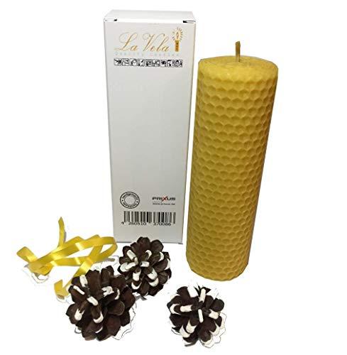 La Vela - Elegante Candele Fatta a Mano, di qualità, in 100% Cera d'api, in Diverse Dimensioni - 13x4,5