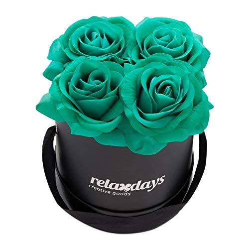 Relaxdays Rosenbox rund, 4 Rosen, stabile Flowerbox schwarz, Lange haltbar, Geschenkidee, dekorative Blumenbox, türkis