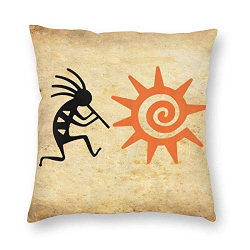 "Fcdraon Vintage Kokopelli and Sun Spirit Music Square Home Decor Square Throw Pillowcase Pillow Protector Best Pillow Cover for Bed 24""x24"""