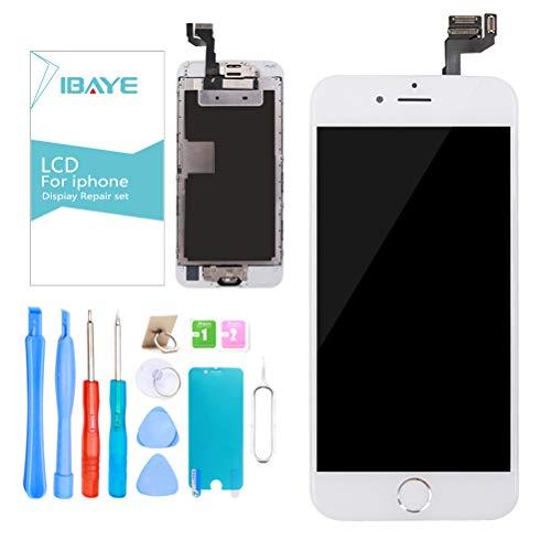 Ibaye Schermo per iPhone 6S Bianco (4,7 Pollici) Display LCD Touch Screen Digitizer Parti di Ricambio (con Home Pulsante, Fotocamera, Sensore Flex) Utensili Inclusi