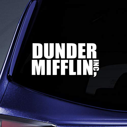 Bargain Max Decals - Dunder Mifflin Office - Sticker Decal Notebook Car Laptop 6' (White)