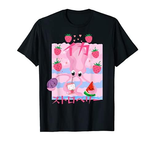 Strawberry Squid Juggling イチゴとメロンとミルクをジャグリングしているキュートなイカ Tシャツ