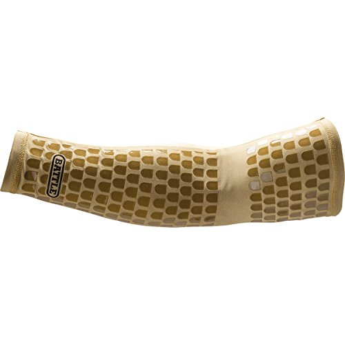 Battle Ultra-Stick Full Arm Sleeve – Compression Support Sleeves with Ultra-Tack Grip – Forearm and Elbow Protection, Single, Gold, Large/X-Large