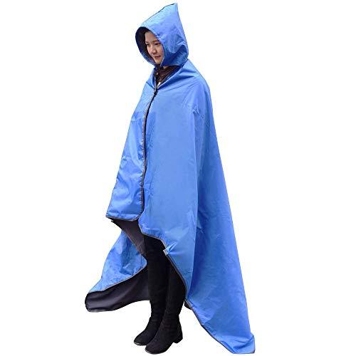 FANCYWING Hooded Stadium Blanket, Waterproof Windproof Outdoor Fleece Blanket,Wearable Portable Hooded Stadium Blanket for Outdoor Camping, Picnic, Sports,Concerts,Stadium,Travel, Car