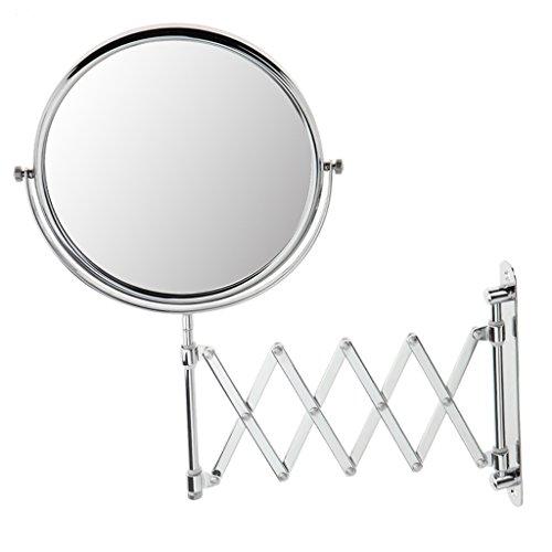 MagiDeal Miroir Mural de Salle de Bain pour Maquillage / Rasage - Miroir Cosmétique à Double Face Grossissant 3x + Normal - Miroir Extensible