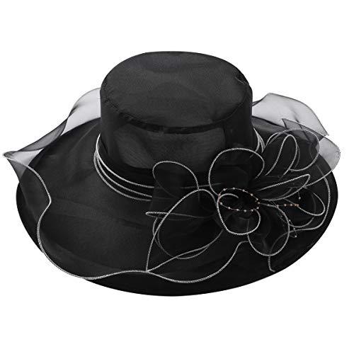 dPois Pamelas para Bodas Sombrero Mujer Retro Pamela Ala Ancha de Organza Flor para Sol Verano Iglesia Fiesta Verano Vacaciones Vintaje Elegante Lujo Kentucky Derby Sun Hat Negro One Size