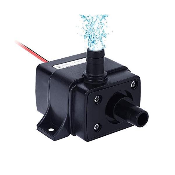 Bomba sumergible Mini Bombas de agua sin escobillas eléctricas, IP68 a prueba de agua, DC12V 3.6W Impermeable sumergible…