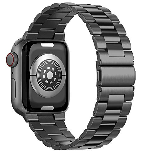 Maxjoy Compatible with Apple Watch Band, 38mm 40mm 42mm 44mm Metal Replacement Strap Solid Stainless Steel Bracelet Compatible with Apple iWatch Series 6 5 4 3 2 1 SE Sport Edition, Black