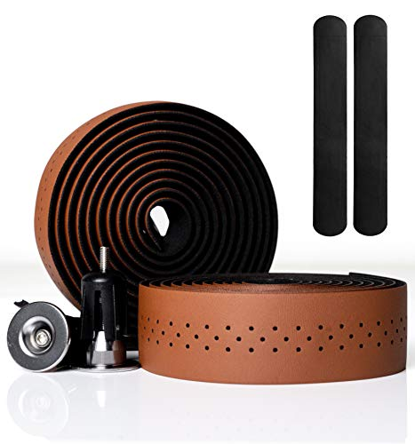 Kellago Langlebiges Profi Leder-Lenkerband [Griffband für Rennrad aus extra robustem und griffigem Kunstleder incl. Klebestreifen/Fahrrad ] (04 BRAUN mit Endkappen)