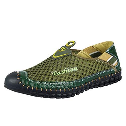 feiXIANG Laufschuhe Herren Turnschuhe Sportschuhe Lässige Outdoor Mesh Sneakers atmungsaktive Slipper(Armeegrün,39)