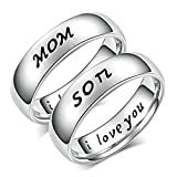 2 Piezas Anillos Hombre y Mujer Acero Inoxidable Grabado Mom y Son, I Love You Plata Plata Mujer Talla 9,5 + Hombre Talla 27