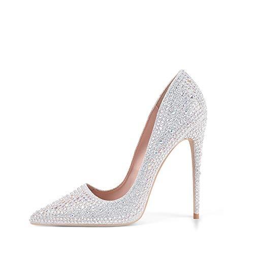 Zhabtuc Mujer Zapatos de Tacón Plateado Brillantes 12 CM Sexy Stilettos con...