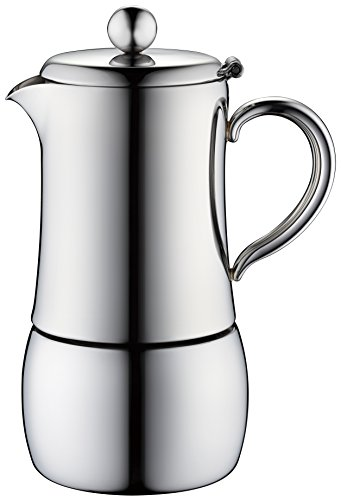 Minos Moka Pot 4-Cup Espresso Maker - Stainless Steel And Heatproof Handle - Suitable for Induction, Electric And Ceramic Stovetops