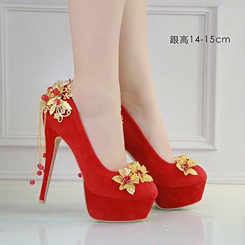 JINGXINSTORE Femmes chaussures de mariage rouge chaussures de mariée en satin, 14-15cm, UK 5