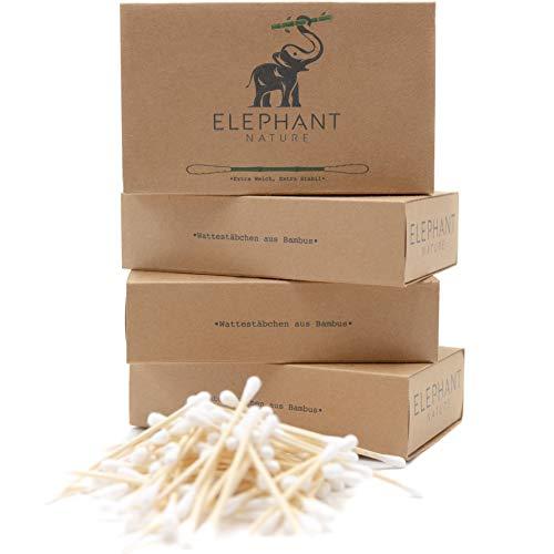 ELEPHANT NATURE Wattestäbchen aus Bambus - 400 Stück, Vegan, Biobaumwolle, nachhaltig, kompostierbar, Plastikfrei, Ohrenstäbchen