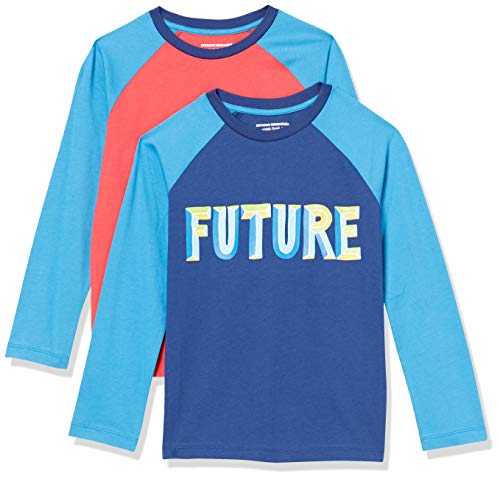 Amazon Essentials Long-Sleeve Raglan Baseball T-Shirts Fashion, Paquete de 2 Future, L, Pack de 2