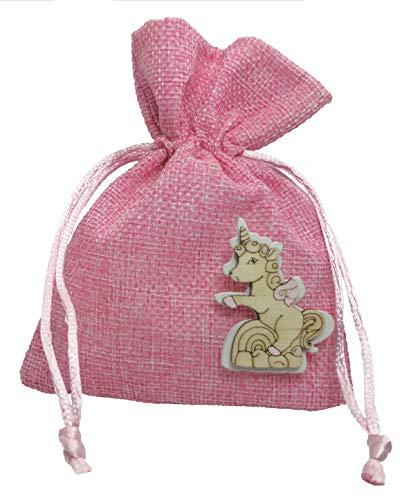 PuntoCasaStore 10 X Sacchetto Portaconfetti Juta Rosa 10x13 cm Nascita Battesimo con Legnetto Unicorno 4 cm