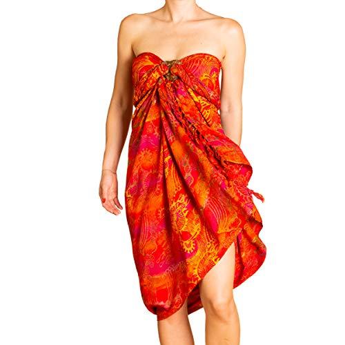 PANASIAM Sarong für Damen & Herren I 100% Handarbeit aus Indonesien - jedes Tuch ein Unikat I hochwertiger blickdichter Wickelrock I Batik m. deutschen Textilfarben I Strandtuch Fireflame Orangetone