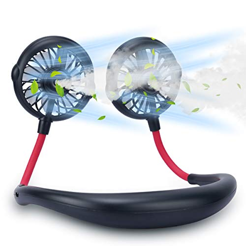GINEKOO Portable Mist Neck Fan, Hand Free Mini USB Fan Rechargeable, Personal Spray Fan with 3 Level Air speeds and 360° Free Rotation Perfect for Outdoor, Travel, Sport, Office