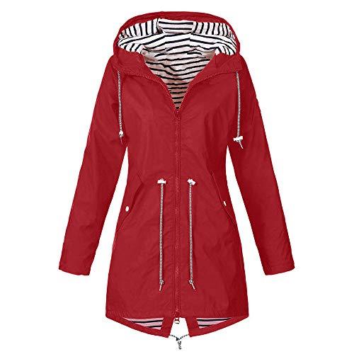 Linkay Damen Regenjacke Wasserdicht Atmungsaktiv Leichter Kapuzen Trenchcoats Windjacke mit Einstellbarer Kapuze für Sommer und Herbst (Rot,XXX-Large)