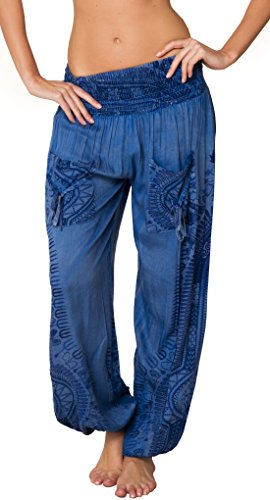 INGEAR Smocked Boho Harem Pants for Women - Hippie Bohemian Casual Gypsy Print, Ideal Yoga Pant - Baggy Harem Pants(Small, Blue)