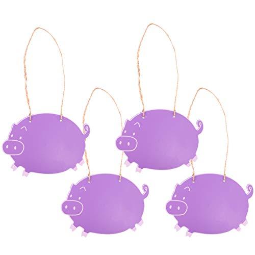 ifundom 4 Piezas Mini Pizarras Letreros Forma de Cerdo Tablero de Mensajes de Madera Precio de Doble Cara Etiquetas de Pizarra Etiquetas de Alimentos con Cuerda para Manualidades Diy