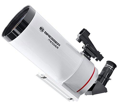Bresser Teleskop Messier MC-100/1400 optischer Tubus mit SPL-Okular, LED-Sucherfernrohr, universeller Edelstahl-Klemmfläche für Montierungen und Astronomie-Software Stellarium, weiß