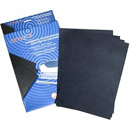 Genie 11187 - Cartoncini per rilegatura, A4, cartone, 230 g/m², adatto a tutte le rilegatrici, nero, 50 pz.