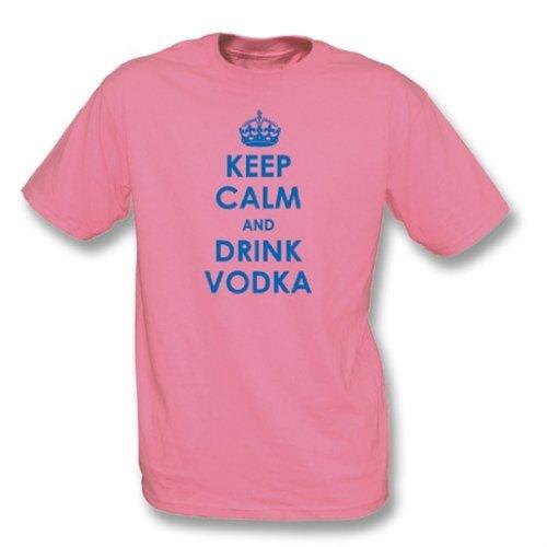 TshirtGrill Mantenga Tranquilo y beba el Medio de la Camiseta de la Vodka, Rosa del Color