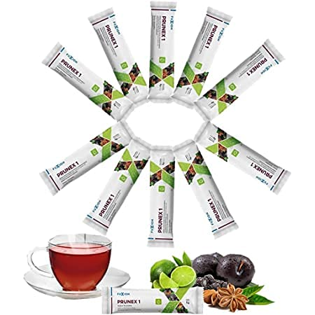 All Natural Detox Cleanse Instant Tea Mix Prune & Plum w. Fiber & Inulin for Optimal Intestinal Transit by FuXion Prunex 1 (10 Sachets)