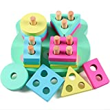 Lewo Juguetes educativos para niños de Madera Formas geométricas Tablero para apilar y clasificar …