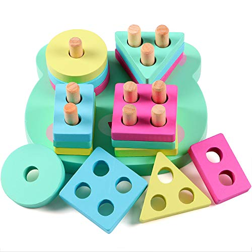 Lewo Educational Toys Wooden Stacking Toy Shape Sorter Sorting Board Toys Puzzle Game for 1 2 3 4 5 Toddle Kids