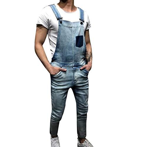 Heren Losse Denim Dungarees Bib Slim Broek Overalls Jeans wassen Gebroken Pocket Broek Retro Losse Casual Mouwloos Playsuit Jumpsuit voor Mannen Uitgaan Party Rompers