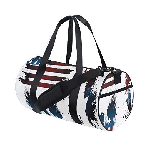 ZOMOY Bolsa de Deporte,Impresión de la Raya del águila de la Bandera Americana,Nuevo de Cubo de impresión Bolsas de Ejercicios Bolsa de Viaje Equipaje Bolsa de Lona